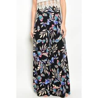JED Women's Ultra Stretchy High Waist Black Floral Palazzo Pants|https://ak1.ostkcdn.com/images/products/18145210/P24295805.jpg?impolicy=medium