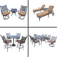 Sunbrella Cushioned Set with 5 Pc Bar Set, 9 Pc Dining Set, Extendable Table, 3 Pc Chaise Lounge Set and 3 Pc Swivel Rocker Set