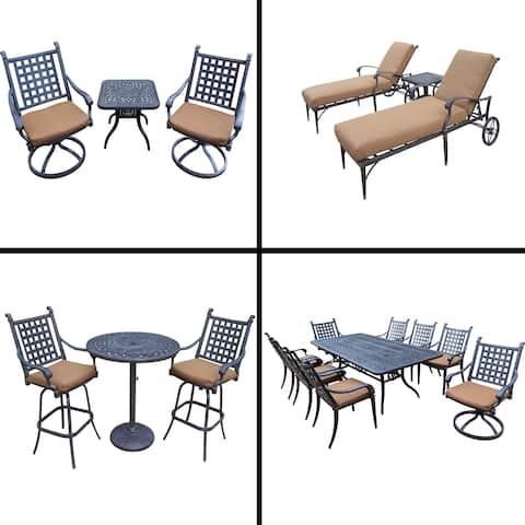 Premier Sunbrella Cushioned Set with 3 Pc Bar Set, 9 Pc Dining Set, 3 Chaise Lounge Set and 3 Pc Swivel Rocker Chat Set