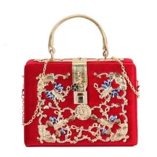 Rimen & Co. Luxury Flannelette Archaize Gilding with Crystals Case Handbag (Option: Green)