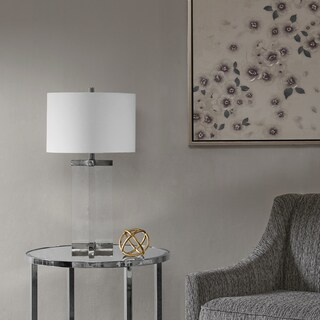 Marin Clear 27.5-inch Table Lamp with White Drum Shade by Hampton Hill