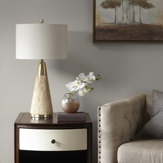 Madison Park Signature Peyton Gold/ Natural 29.75-inch Table Lamp with Cream Drum Shade