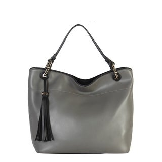 Diophy PU Leather Large Hobo with Tassel Decoration