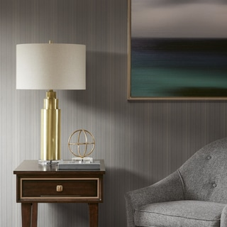 Madison Park Signature Devon Gold 29.5-inch Table Lamp with Cream Drum Shade