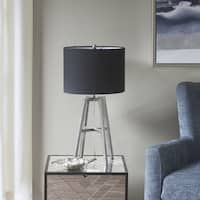 Madison Park Bedford Silver 23.5-inch Table Lamp with Black Cylinder Shade