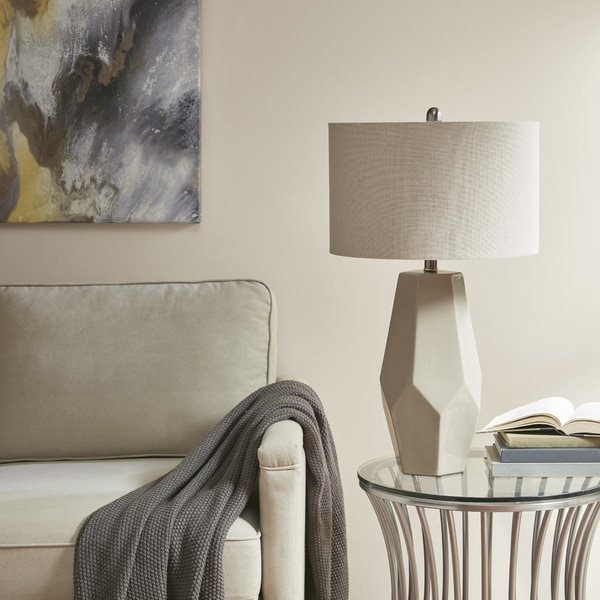 Madison Park Facted White 32-inch Table Lamp with Oatmeal Drum Shade