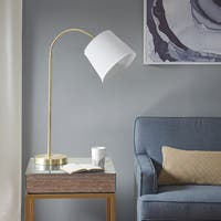 Madison Park Venus White/ Gold 33.5-inch Table Lamp with White Tappered Shade