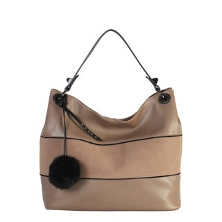 Diophy PU Leather Large Hobo with Pompon Decoration