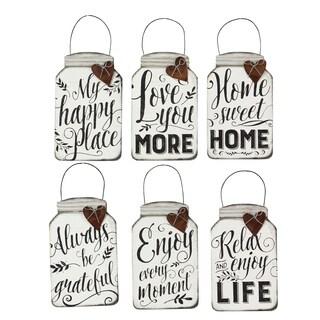 Tin Mini Mason Jar Wall Hanging Quote Signs (set of 6)