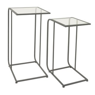 Three Hands Black Metal Glass Top Accent Tables (Set of 2)