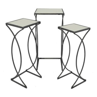 Three Hands Set Of Three Mirrored Top Accent Tables