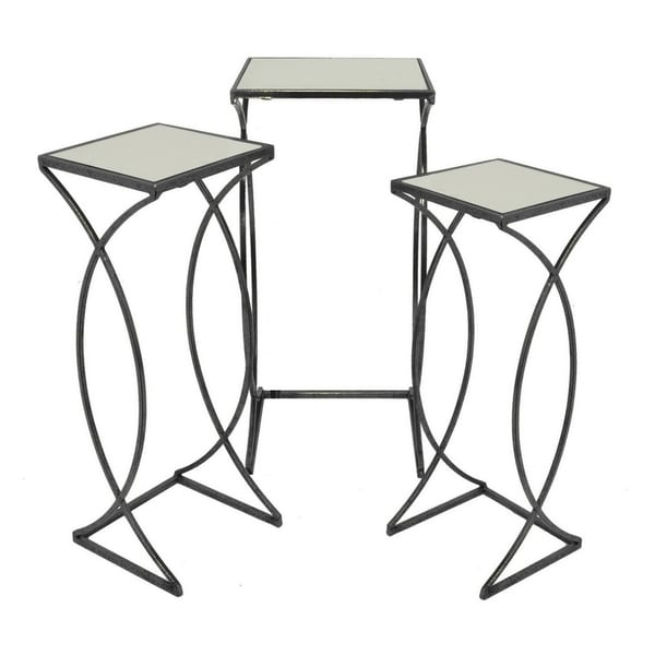 Three Hands Set Of Three Mirrored Top Accent Tables - Free Shipping ...