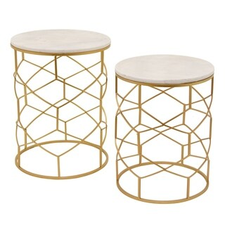 Three Hands Set Of Two Metal / Marble Top Tables