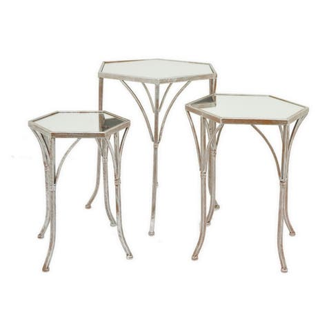 Three Hands Set Of Three Mirror Tables - Champagne - l19x16.25x22 * m 15.75x13.75x19.5 * s 12.5x11x17