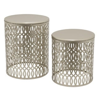 Three Hands Set Of Two Metal Accent Tables