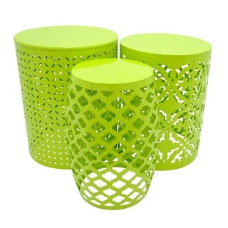 Charming Three Hands 3 Piece Green Metal Accent Table Set
