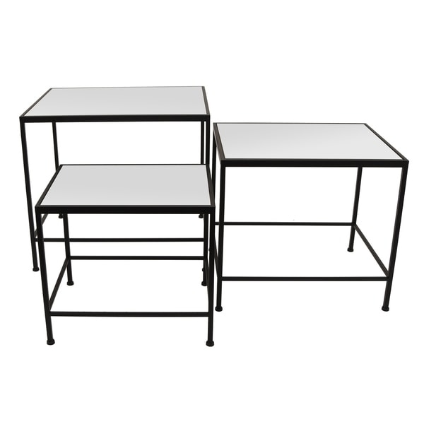 Three Hands Set Of Three Metal/Mirrored Tables