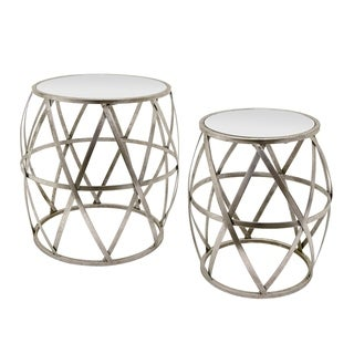 Three Hands Set Of Two Metal/Mirrored Tables