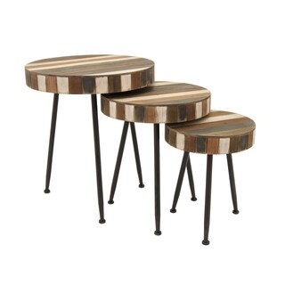 Three Hands Striped Finish Wood Round Nesting Tables (Set of 3)
