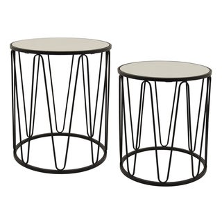 Three Hands Black Metal Tables with Mirror Top (Set of 2)