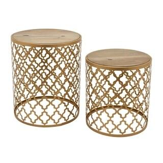 Three Hands Goldtone Metal/ Wood End Tables (Set of 2)