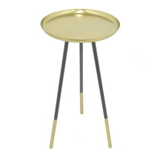 Three Hands Black-and-gold-finished Metal Round Accent Table With Gold-finished Metal Tabletop
