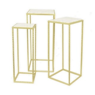 Three Hands Set Of Three Assorted Gold Metal Tables With Marble Top