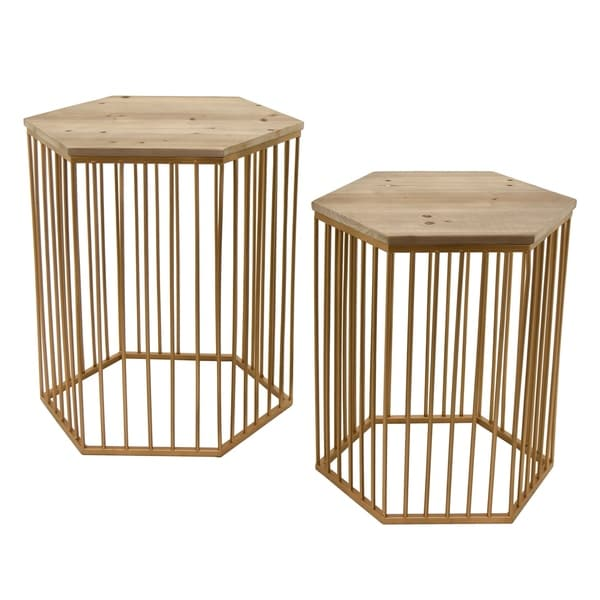 Three Hands Goldtone Metal and Wood Top Accent Tables (Set of 2)