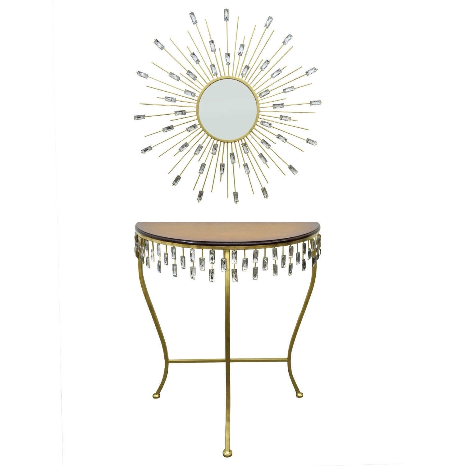 Three Hands Goldtone Metal Wood-topped Console Table and ...