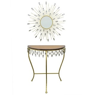 Three Hands Goldtone Metal Wood-topped Console Table and Mirror Set