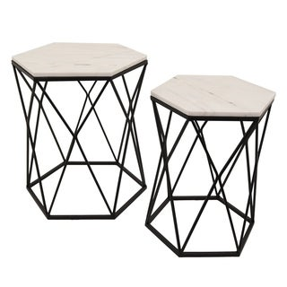 Three Hands Set Of Two Tables With Marble Top - l20x17.5x22.75 * m 16x14x20.5 *