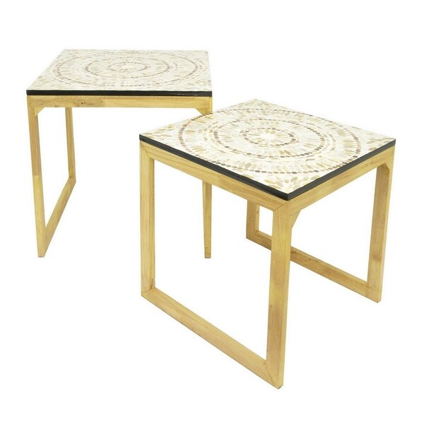 Three Hands Set Of Two Wood / Metal Mop Top Tables