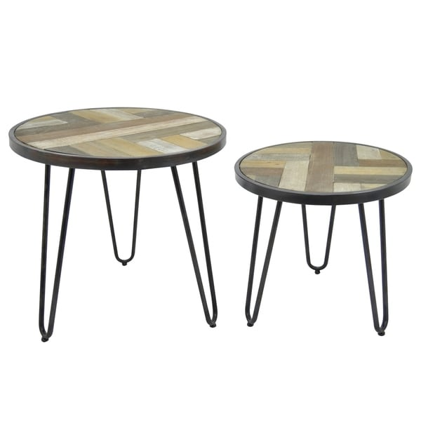 Shop Three Hands Set Of Two Wood/Metal End Tables - Free Shipping ...