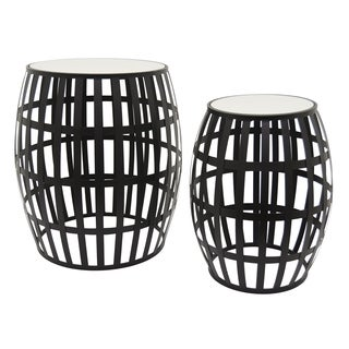 Three Hands Black Metal Accent Table with Mirror Top (Set of 2)