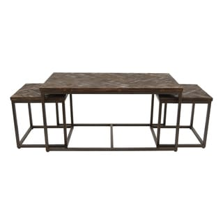 Three Hands Black Wood/Metal Accent Tables (Set of 3)
