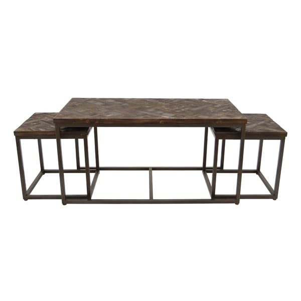 Three Hands Set Of Three Wood And Metal Accent Tables
