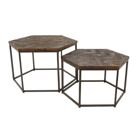 Three Hands Set Of Two Wood And Metal Accent Tables - l32.75x24.25x20 * m 28.25x18.25x16.75 *