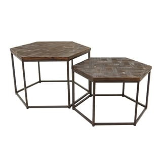 Three Hands Brown Wood/Metal Accent Table (Set of 2)