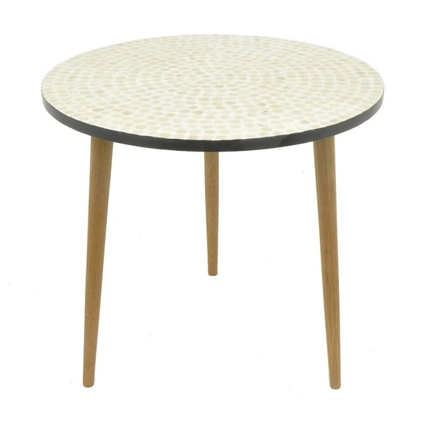 Three Hands Wood Mop Side Table - Ivory