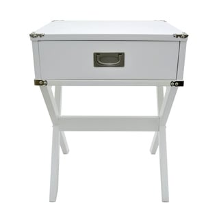 Three Hands White Wood/ Metal Side Table