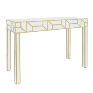 Three Hands Goldtone Wood Console Table