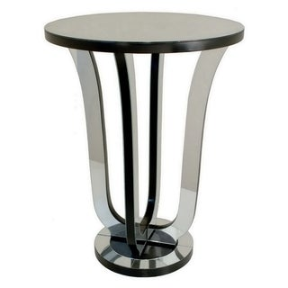 Three Hands Silvertone and Black Wood Mirrored Accent Table