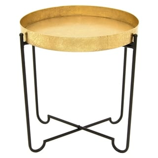 Three Hands Goldtone Black Metal Side Table