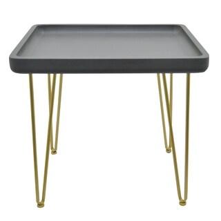 Three Hands Black Wood Side Table with Goldtone Metal Legs