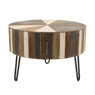 Three Hands Brown Wood Round Coffee Table