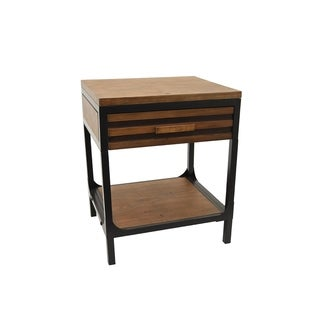 Three Hands Two-tone Brown Wood 1-drawer Side Table