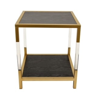 Three Hands Gold-finished Metal and Acrylic Accent Table With Black-finished Metal Tabletop