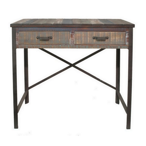 Three Hands Brown Wood Table With Drawers