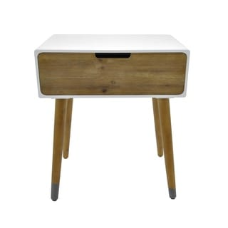 Three Hands White Wood Single-drawer Transitional Side Table