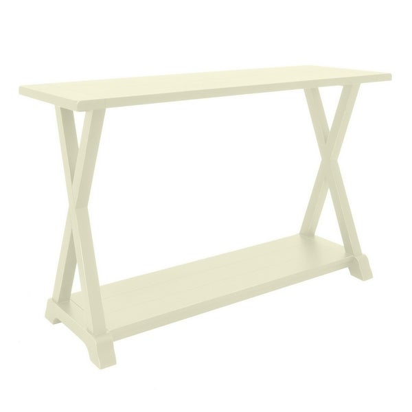 Three Hands Wood Console Table  Ivory